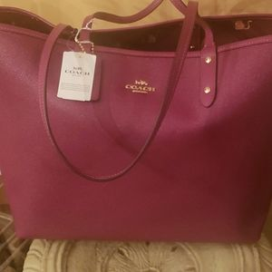 Burgundy Coach reversible tote. New with tags